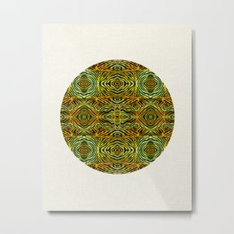 Tiger in a Circle African Dye Resist Fabric Adire Boho Chic Metal Print