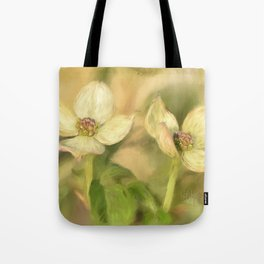 Double Dogwood Blossoms In Evening Light Tote Bag