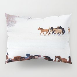 horses in snow photography2 Pillow Sham