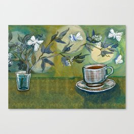 Green Tea with Moths and Moon Canvas Print