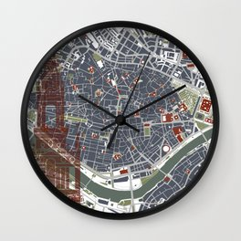 Seville city map engraving Wall Clock