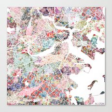 Boston map flowers Canvas Print