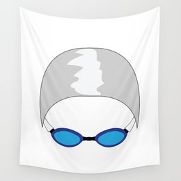 Swim Cap and Goggles Wall Tapestry