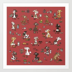 Retro cows - red Art Print