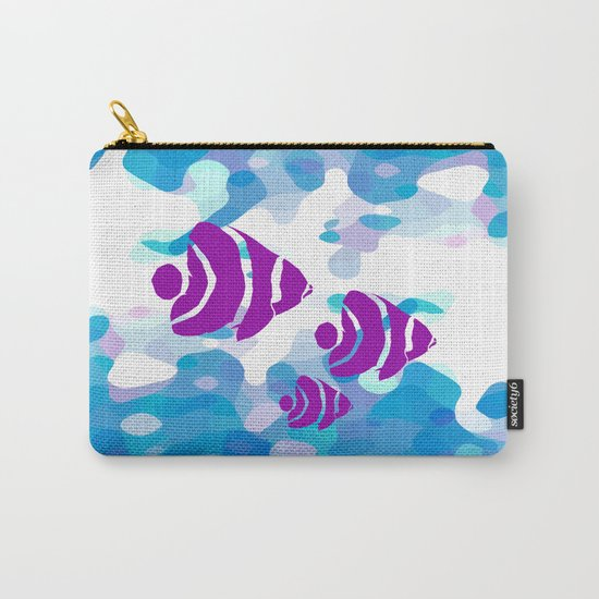Three Purple Fishes Carry-All Pouch