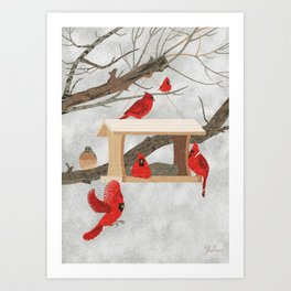 Cardinals at bird feeder Art Print