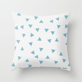 90's Blue Watercolor Triangles Throw Pillow