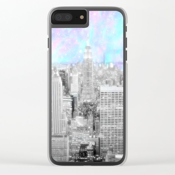 New York City. Pink Lavender Periwinkle Aqua Skies Clear iPhone Case