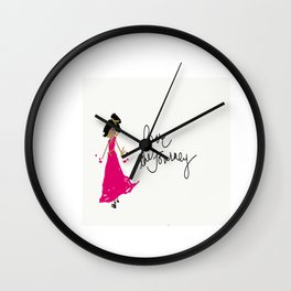 Love The Journey Girl in Pink Wall Clock