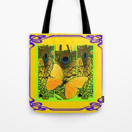 ART NOUVEAU YELLOW BUTTERFLY PEACOCK FEATHERS Tote Bag