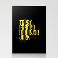 steelers Stationery Cards featuring Terry Franco Mean Joe Jack / Black by Brian Walker