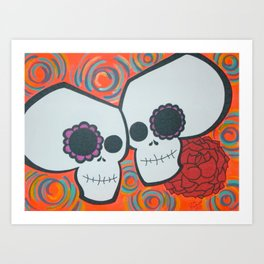 2 Skulls Art Print