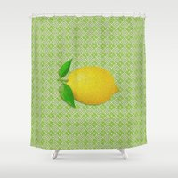 lemon Shower Curtains featuring Lemon by Mr and Mrs Quirynen