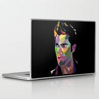 derek hale Laptop & iPad Skins featuring Derek Hale Mosaic Portrait by Liz Swezey