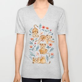 Lazy Lion Cubs and Pretty Poppies on White Unisex V-Neck