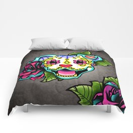 Smiling Pit Bull in White - Day of the Dead Pitbull Sugar Skull Comforters