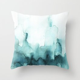 Soft teal abstract watercolor Throw Pillow