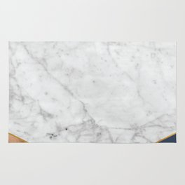 White Marble - Wood & Navy #599 Rug