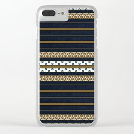 Navy Blue Gold Multi Pattern Stripe Print Clear iPhone Case
