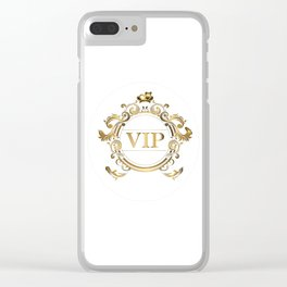 VIP in Hot Pink and Goldtones Clear iPhone Case
