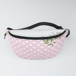 Pink Polkadots and Floral Watercolor Fanny Pack