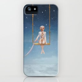 The lovely girl shakes on a swing iPhone Case