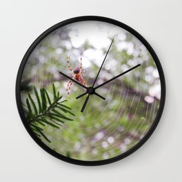 orb weaver spider and bokeh Wall Clock