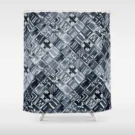 Simply Tribal Tiles in Indigo Blue on Lunar Gray Shower Curtain