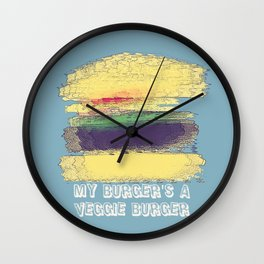 Veggie Burger (blue) Wall Clock
