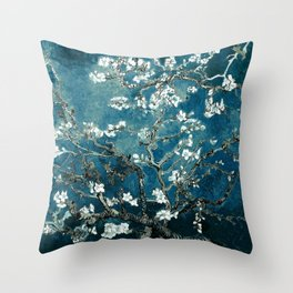 Van Gogh Almond Blossoms : Dark Teal Throw Pillow