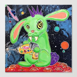 Crazy Space Bunny on the Loose Canvas Print