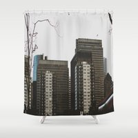 buildings Shower Curtains featuring Buildings by Genevieve Einwalter