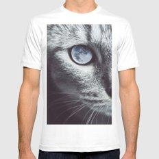 Moon cat White Mens Fitted Tee MEDIUM