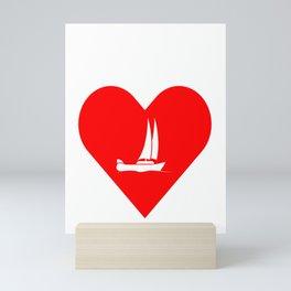i love sailing makes me happy Mini Art Print