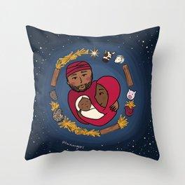 Starry Night Nativity Wreath Throw Pillow