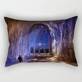 Man looking at imaginary window Rectangular Pillow
