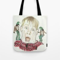 home alone Tote Bags featuring Home Alone by Jillian Doherty