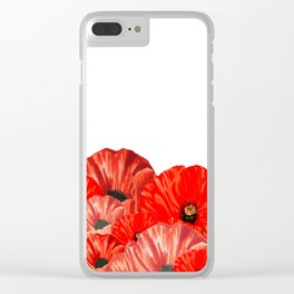 Poppies on White Clear iPhone Case