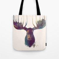 gray pattern Tote Bags featuring Moose by Amy Hamilton