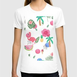 Colorful tropical summer flowers & pink flamingos T-shirt