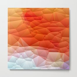 Quilted Pattern Orange Texture Abstract Metal Print