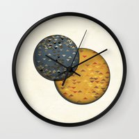 sun and moon Wall Clocks featuring Sun &  Moon by Jonathan Knight