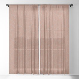 Slate Violet Gray SW9155 Abstract Crescent Shape Pattern on Cavern Clay SW 7701 Sheer Curtain