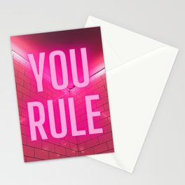 YOU RULE! Modern Pink Glow design Stationery Cards