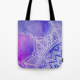 Mandala flower on watercolor background - purple and blue Tote Bag