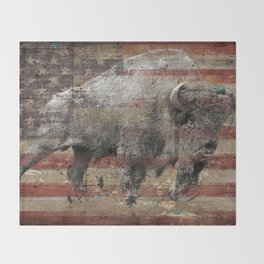 American Bison 2 Throw Blanket