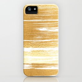 Abstract faux gold white modern paint brushstrokes iPhone Case