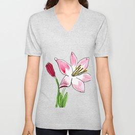 pink lily Unisex V-Neck
