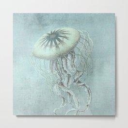 Jellyfish Underwater Aqua Turquoise Art Metal Print