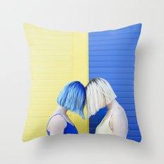 Yellow vs blue Throw Pillow